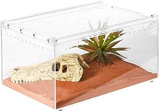 REPTI ZOO Magnetic Acrylic Breeding Enclosure, 12x8x6 Inch Flat Long Reptile Breeding Box Terrarium Cage for Tarantula Sco...