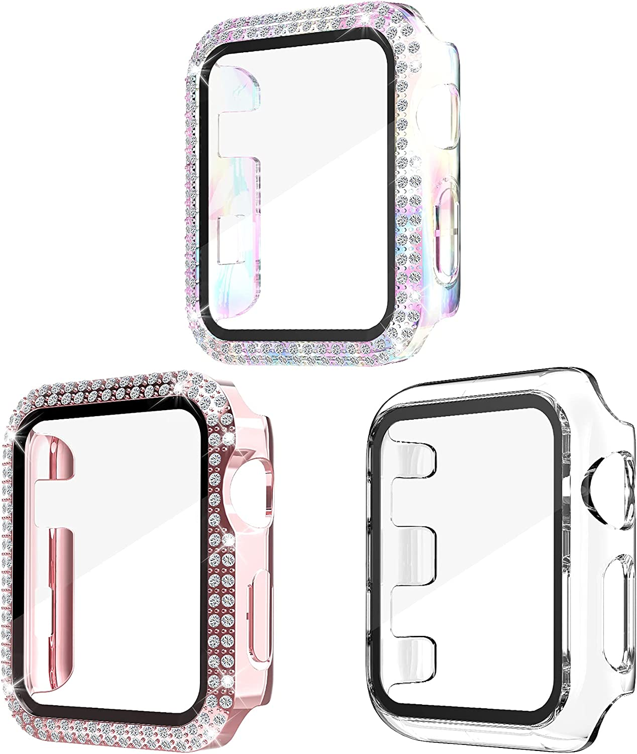 Yooyatt 3 Pack Bling Cases Compatible for Apple Watch 38/40/42/44mm with Tempered Glass Screen Protector for iWatch SE Series 6/5/4/3/2/1 (38mm, Pink + Colorful + Clear)