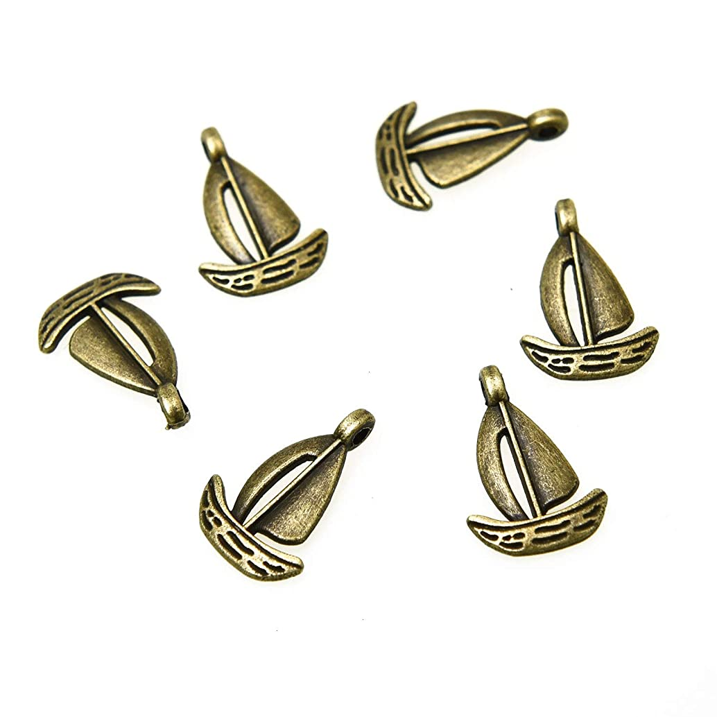 Monrocco 100Pcs Tibetan Sailboat Ship Charms for Jewelry Making Earring Crafting Bracelet Necklace DIY 18x12mm (Antique Bronze)