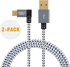 CableCreation Angle Micro USB Cable, [2-Pack] 10 Feet Left Angle Micro USB 2.0 Braided Cable, 90 Degree Vertical Left USB 2.0 A Male to Micro USB Male with Aluminium Case,3 Meters, Space Gray