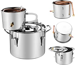SUNCOO 2 Gal/ 8 Liter Moonshine Still Home Distiller Liter DIY Whisky&Wine Spirits Making Boiling Kit for Home DIY Wine Brewing, Stainless Steel, Copper