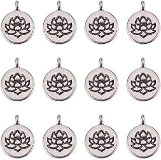 PH PandaHall 60pcs Antique Silver Tibetan Alloy Flat Lotus Flower Charms Pendants Beads Charms for DIY Necklace Bracelet Making