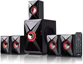 beFree Sound 5.1 Channel Bluetooth Home Theater System with USB and SD Slots-Red