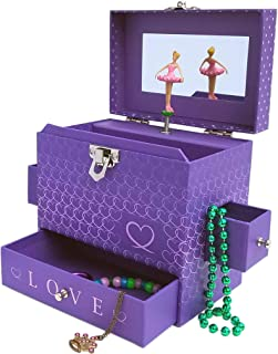 My Tiny Treasures Box Co. Love Ballerina Music Jewelry Box - Purple Three Drawers with Hearts Pink Trim and Mirror