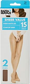 Razzamatazz Women's Pantyhose 15 Denier Comfort Brief Sheers (2 Pack)