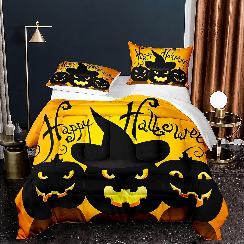 Happy Halloween Comforter Black Orange Quilt Duvet Cover 1 Comforter + 2 Pillow Cases