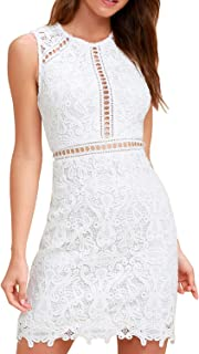 HiLady Women's Winter Elegant Sleevesless White Floral Lace Wedding Cocktail Pencil Dress