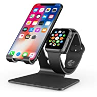 Apple Watch Stand, OMOTON 2 in 1 Universal Desktop Stand Holder for iPhone and Apple Watch (Both...