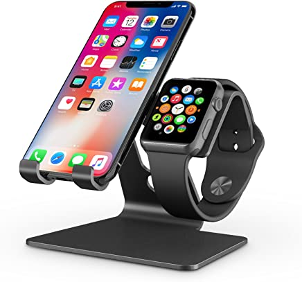 Apple Watch Stand, OMOTON 2 in 1 Universal Desktop Stand Holder for iPhone and Apple Watch (Both 38mm/40mm/42mm/44mm) (Black)
