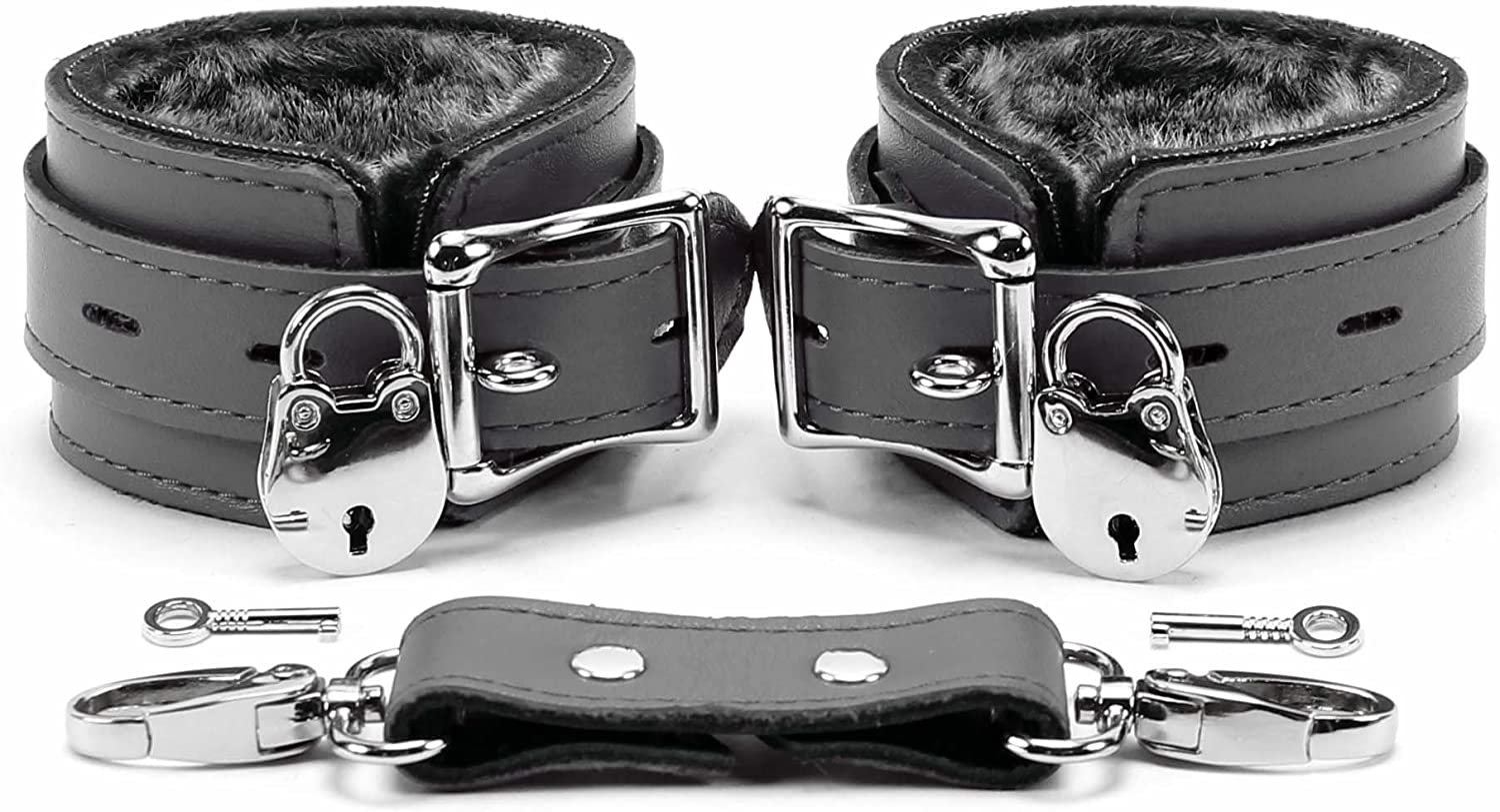 Maydelle Handcuffs Leg Cuffs Handcrafted Ultra-Soft Lambskin Leather Innovative Design Grey, Wrist