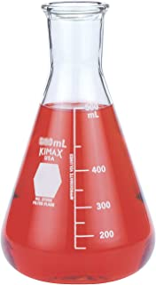 Kimax Glass Heavy Wall Erlenmeyer Filtering Flask with Capacity Scale, 2000ml Capacity