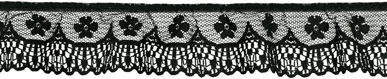 Decorative Trimmings 20163-8-024Y-002 Black Ruffled Orchid Scallop Lace Trim, 1-3/4