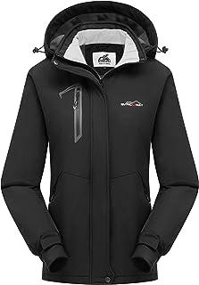 Women's Waterproof Warm Sherpa Fleece Lined Ski Jacket with Removable Hood