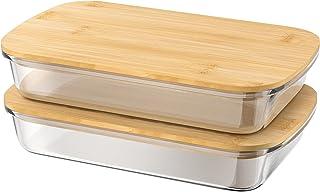 G.a HOMEFAVOR 1.5 L Boîte à Charcuterie en Verre, Boîte à Fromage avec Couvercle en Bambou, Boîte de Rangement du Boutures...