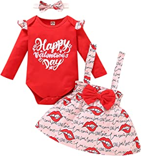 Sponsored Ad - Baby Girls Valentine's Day Outfits Toddler Princess Ruffle Sleeve Romper Bow Suspenders Skirt 3pcs Clothing...