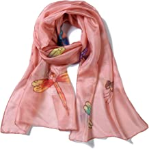 Invisible World Women`s 100% Mulberry Silk Scarf Long Hand Painted Dragonfly