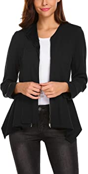 ELESOL Womens Solid Long Sleeve Open Front Office Blazer