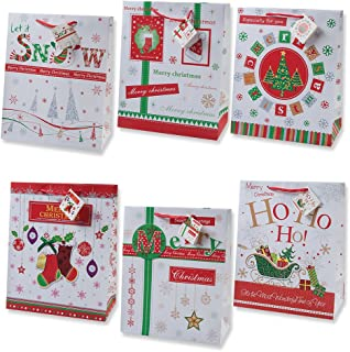 Gift Boutique Christmas Gift Bags Small Bulk Assortment with Handles and Tags for Wrapping Holiday Gifts 12 Bags