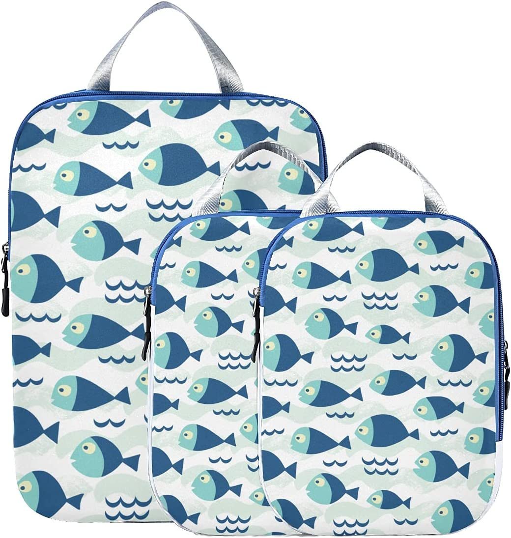 67% OFF of New product!! fixed price Packing Cubes For Travel Fishes Cube Blue Colors
