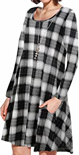 JollieLovin Women Long Sleeve Dress with Pockets Plus Size Swing Casual Loose Tshirt Dresses 7-Checkered L