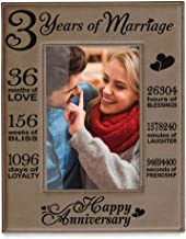Kate Posh Our 3rd Wedding Anniversary, 3 Years Anniversary, 3 Years of Marriage, Gifts for Couple, Third Anniversary - Engraved Leather Picture Frame (5 x 7 Vertical)