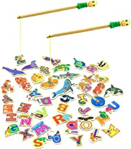 MEIGO Magnetic Fishing Game - Toddler Wooden Magnet Animals and Letters Educational Toys for Kids 3 4 5 Year Old Boys Girls (46pcs)