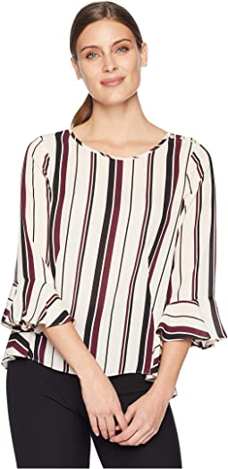 Long Ruffle Sleeve Striped Blouse