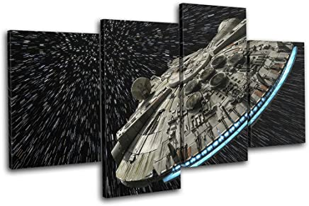 e08b99a02ba6d Bold Bloc Design - Star Wars Millennium Falcon Gaming 120x68cm MULTI Canvas  Art Print Box Framed
