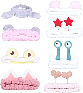 Jixin4you 8 Pack Makeup Hairbands Flannel Cosmetic Headbands Spa Head Bands Hair Wrap Hair Hoops for Shower Washing Face F...