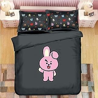 DHSPKN Kpop BTS Cartoon Twin Queen King Bedding Sheet Set Jungkook Bed Quilt Cover Pillowcase