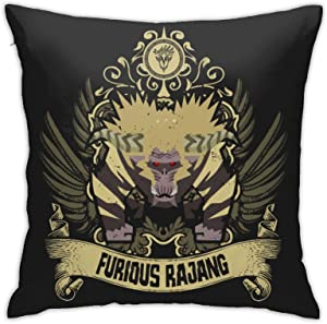 Vhsyudgdyi Classic Best Pillowcase Monster Hunter World Furious Rajang Throw Pillow Cover Home Decorative Square Soft Indoor Used for Office Room Sofa Bed Car Chair 18×18