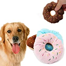 BLUECELL 1PC Funny Pet Dog Ball Teeth Silicone Chew Squeaker Squeaky Sound Dog Play Bite Toys Donuts Plush Sound Pet Toys To Play
