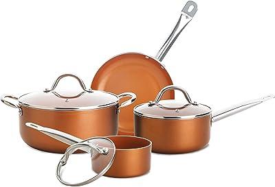 Amazon Com Culinary Edge Cookware Set 7 Pc Copper Kitchen Dining