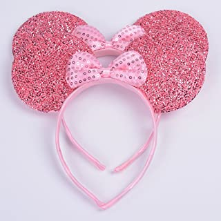 NiuZaiz Set of 2 Pink Glitter Pink Sequin Bow Mouse Ears Headband for Boys and Girls Birthday Party Decoration (Pink Sequin)