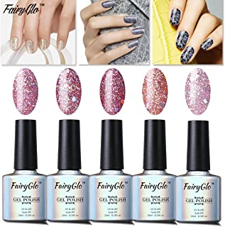 FairyGlo Well-Picked 5 Colour Combo Glitter Gel Nail Polish UV LED Soak Off Shimmer Manicure Stareter Kit Mirror Finish Gorgeous Pro Nail Art Collection Gift Set 10ml 002