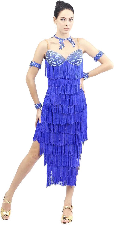 Smarts Dance Womens Fringe Ballroom Salsa Samba Rumba Tango Swing Cha Cha Tango Rhythm Latin Dance Gowns bluee US 8 UK 10 skld2