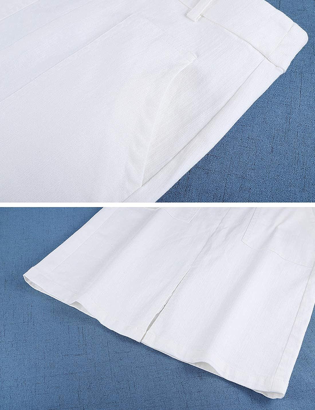 Uaneo Women's Casual Pocket Slim Fit Denim Jean Midi Skirt (Medium, White)