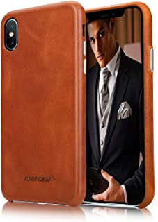 """JISONCASE iPhone Xs Leather Case, Genuine Leather iPhone X Case with Ultral Thin Hard Back & Wireless Charging Compatible,Shockproof Protective Cover Case for Apple iPhone X 10 Xs 5.8""""- Brown"""