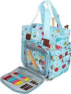 Sac à tricoter, sac de rangement de fil à tricoter CestMall avec beaucoup d'espace et de compartiments, sac fourre-tout po...