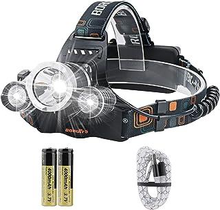 BORUIT RJ-3000 Super Bright 5000 Lumens Waterproof USB Rechargeable LED Headlamp Head Torch XM-L2 4 Modes Headlight Perfec...