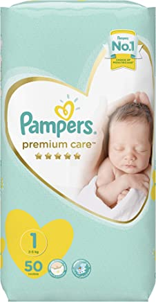 Pampers Premium Care Newborn Baby Diapers, Size 1, 4 Value Pack - 2-5 Kg, 50 Count