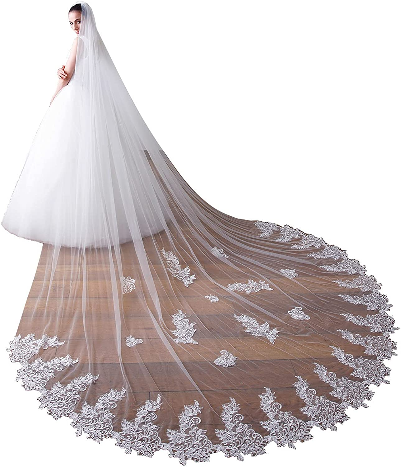 EllieHouse Womens 1 Tier Cathedral Lace Wedding Bridal Veil With Metal Comb X49