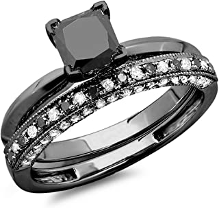 1.50 Carat (ctw) Black Rhodium Plated 10K Black & White Diamond Bridal Ring Band Set 1 1/2 CT, White Gold