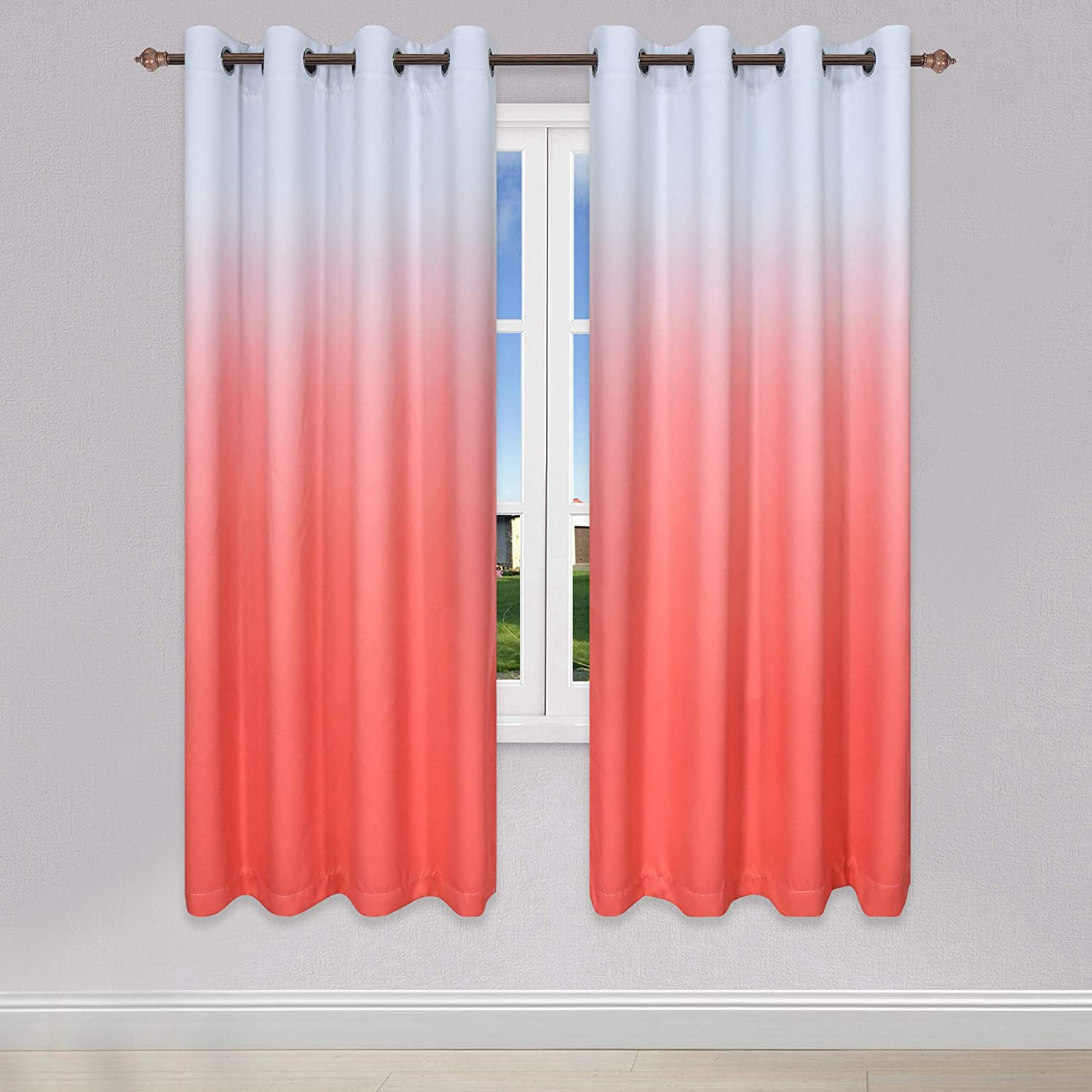 KEQIAOSUOCAI 直営ストア Coral Ombre Curtains for Bedroom [並行輸入品] Set of Room Living