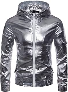 Mogogo Mens Windbreaker Windproof Zipper Glitter Hooded Jackets Outwear