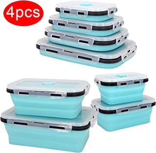 4 PCS Collapsible Food Storage Containers, Silicone Collapsible Lunch Box with BPA Free Lids, Microwave, Freezer, Space Saving Flat Stacks Portable Food Container Meal Bento Boxes for Outdoor Camping