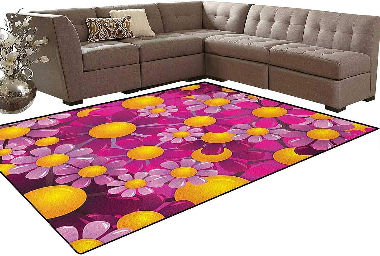 ,Flowers Cartoon Summer Garden Happy Cheering Flourish Vibrant Display Floor Mat Rug Indoor Front Door Kitchen and Living Room Bedroom Mats Rubber Non Slip