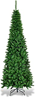 Goplus 6.5ft Prelit Pencil Christmas Tree, Premium Hinged Fir Tree, with LED Lights and Solid Metal Stand, Easy Assemble, Ideal Artificial Xmas Tree for Home and Office, Warm White LED