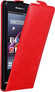 Cadorabo Case Works with Sony Xperia Z1 Compact in Apple RED – Flip Style Case with Invisible Magnetic Closure – Wallet Etui Cover Pouch PU Leather Flip