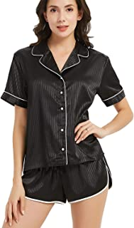 Women's Pajamas Stain Set Short Sleeve Sleepwear Button Down Nightwear Soft Pj Lounge Sets